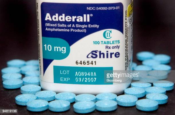 Ten milligram tablets of the hyperactivity drug Adderall made by Shire Plc is shown in a Cambridge Massachusetts pharmacy Thursday January 19 2006...