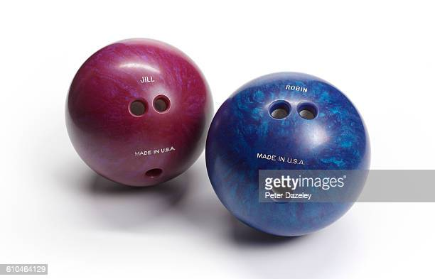 Ten pin bowling balls on white background