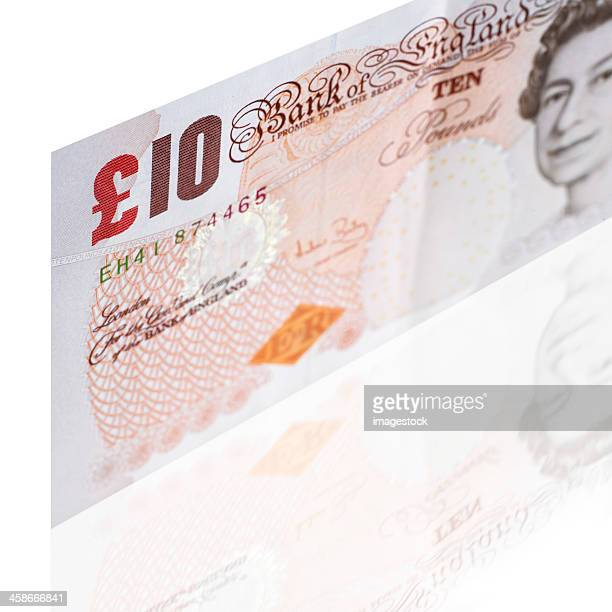 ten pounds banknote isolated on white - ten pound note stock photos and pictures