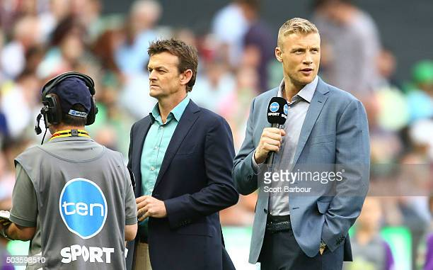 Ten Sport commentators Adam Gilchrist and Andrew Flintoff look on during the Big Bash League match between the Melbourne Stars and the Hobart...