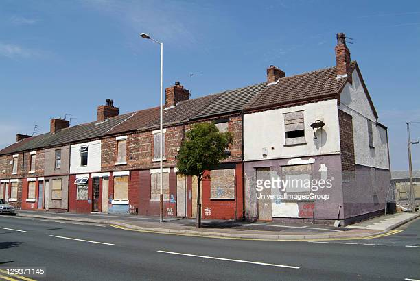 Ten Streets Regeneration Initiative Birkenhead Merseyside boarded up derelict houses waiting for demolition 200 houses between Cleveland Street and...