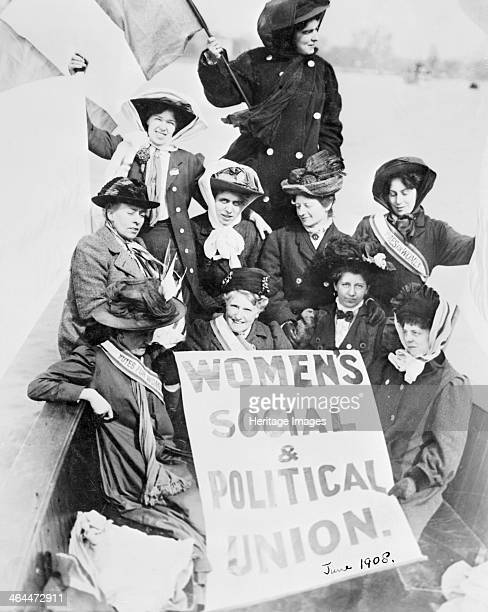Ten suffragettes advertising the Women's Social and Political Union from a boat on the Thames June 1908 The women are wearing 'Votes for Women'...