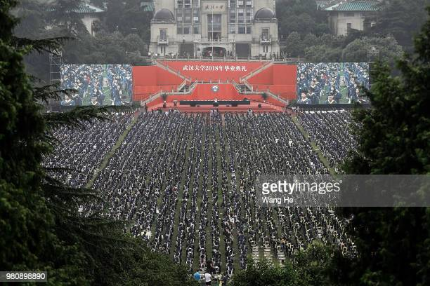 Ten thousand graduates during their ceremony of Wuhan University on June 22 2018 in Wuhan ChinaChina is forecast to produce 82 million fresh...