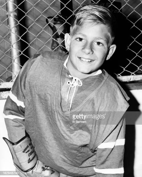 Ten year old Bobby Geoffrion poses for a portrait during a training session at Gordie Howe's Hockeyland circa 1964 in St Clair Shores Michigan
