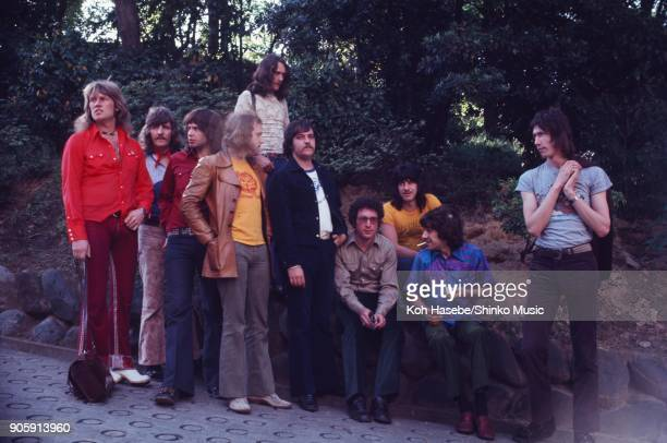 Ten Years After and Procol Harum near Tokyo Hilton Hotel May 1972 Tokyo Japan Alvin Lee Leo Lyons Chick Churchill Ric Lee Gary Brooker Chris Copping...