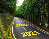Ten years from 2021 to 2030 on highway road and white marking lines in the forest
