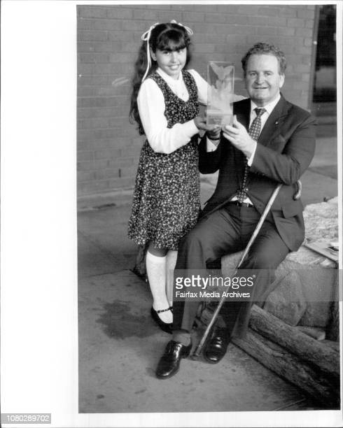 Ten years old Sandra Borg of Rooty Hill pictured with Lord Mayor of Ald Doug Sutherland as she recites the poem Take The Human RaceSandra was the...