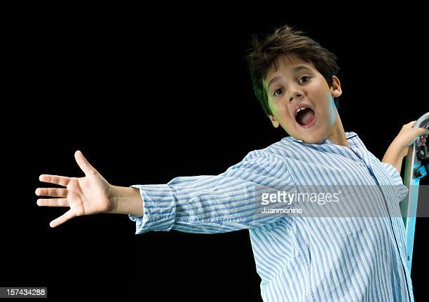 ten years old singing child - musical theater stock pictures, royalty-free photos & images