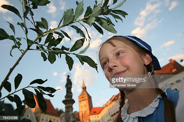 Ten years old Stella Winter disguised as medieval Ruethen girl performs during the opening of the historical Ruethen Feast on July 15 2007 in...