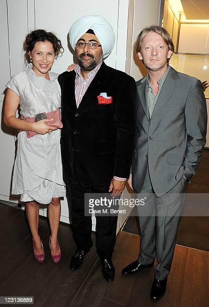 Tena Stivicic Hardeep Singh Kohli and Douglas Henshall attend the launch of The French Laundry popup restaurant at Harrods on August 31 2011 in...