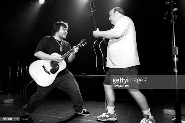 Tenacious D performing at Irving Plaza on Monday night, August 30, 1999. This image: Jack Black, left, and Kyle Gass.