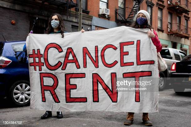 Tenant rights activists hold a demonstration outside the home of New York State Senator Brian Kavanagh to protest what they claim to be inadequate...