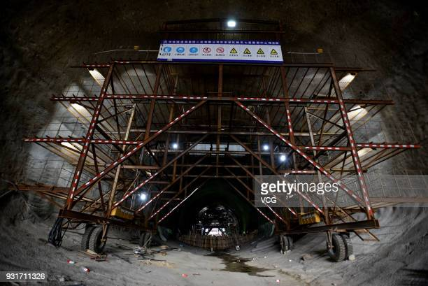 Tencent's biggest data center is seen under construction in the mountainous area of the hinterland on March 13 2018 in Anshun Guizhou Province of...