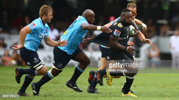 Tendai Beast Mtawarira of the Cell C Sharks on attack during the Super Rugby match between Cell C Sharks and Waratahs at Kings Park on March 03 2018...