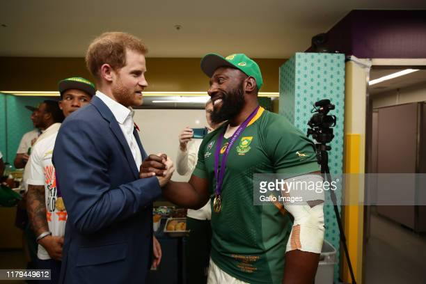 Tendai Mtawarira of South Africa and Prince Harry of England after the Rugby World Cup 2019 Final match between England and South Africa at...