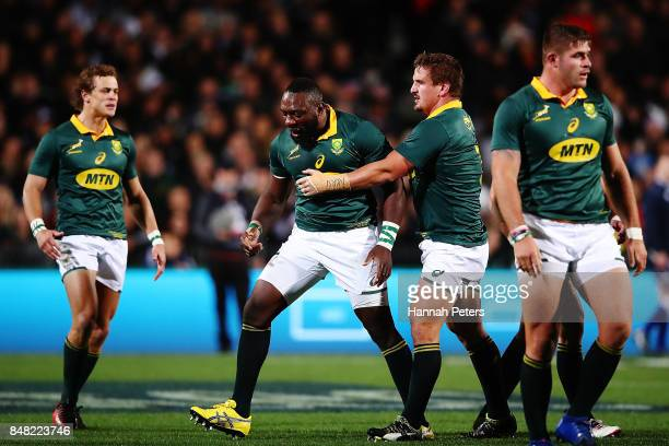 Tendai Mtawarira of South Africa celebrates winning a penalty during the Rugby Championship match between the New Zealand All Blacks and the South...