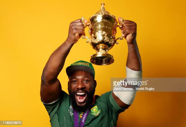 Tendai Mtawarira of South Africa poses for a portrait with the Web Ellis Cup following his team's victory against England in the Rugby World Cup 2019...