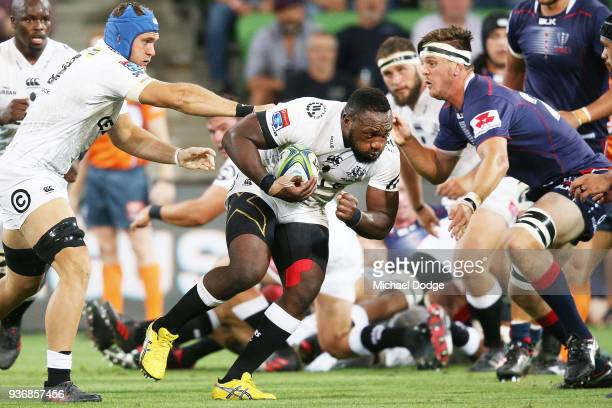 Tendai Mtawarira of the Sharks runs with the ball during the round six Super Rugby match between the Melbourne Rebels and the Sharks at AAMI Park on...