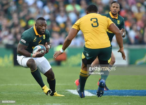 Tendai Mtawarira of the Springboks on the charge during the Rugby Championship 2017 match between South Africa and Australia at Toyota Stadium on...