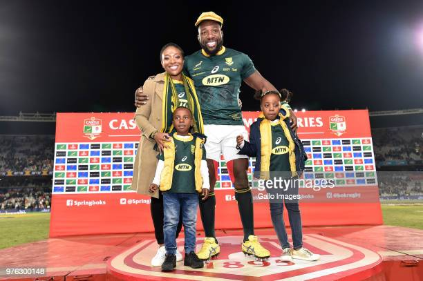 Tendai Mtawarira of the Springboks poses with his family during the 2018 Castle Lager Incoming Series match between South Africa and England at...