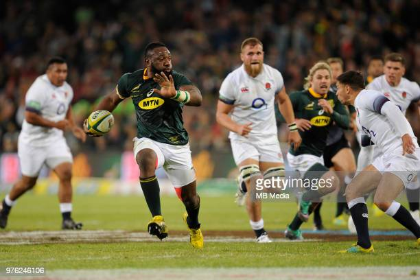 Tendai Mtawarira of the Springboks runs with the ball during the second test match between South Africa and England at Toyota Stadium on June 16 2018...