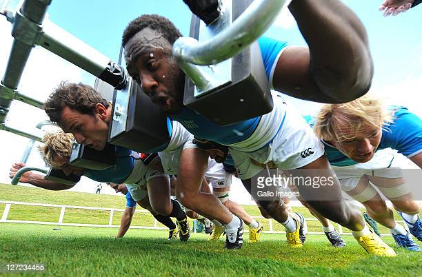 Tendai Mtawarira with Bismarck and Jannie du Plessis scrumming down during the South African national rugby team training session at Owen Delany Park...