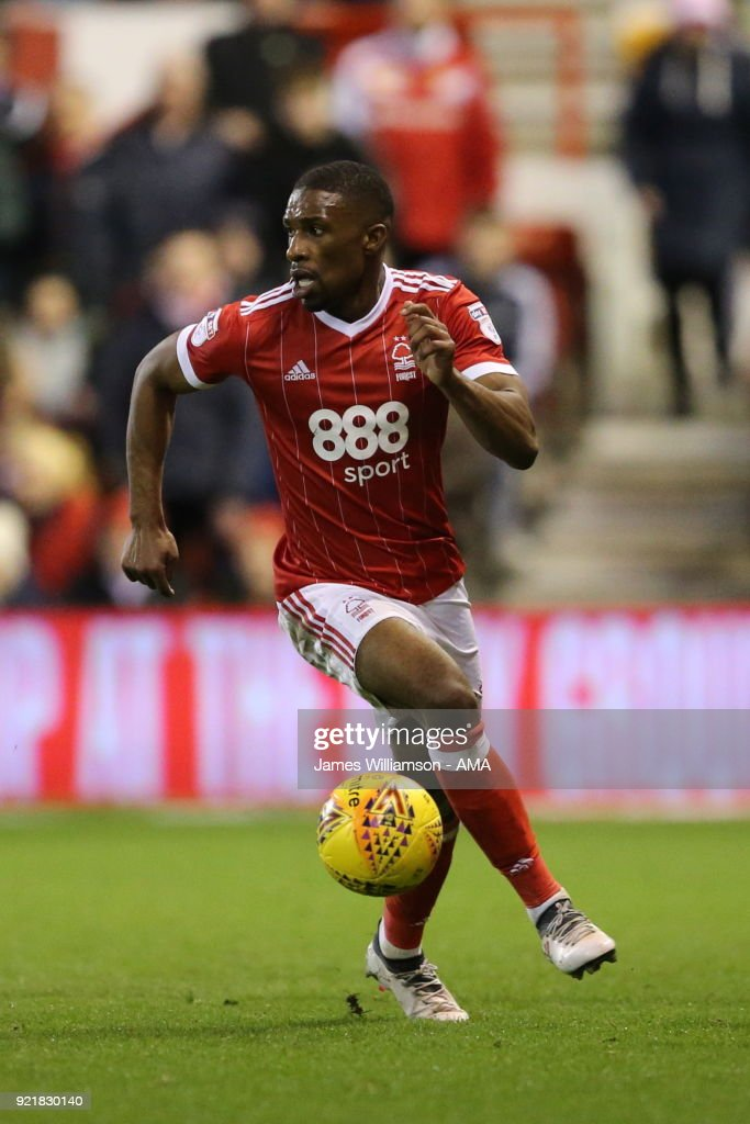 Tendayi Darikwa of Nottingham Forest celebrates after scoring a goal to make it 1-1 during the Sky Bet Championship match between Nottingham Forest and Reading at City Ground on February 20, 2018 in Nottingham, England.