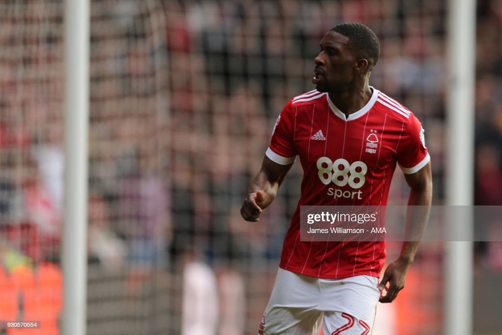 Tendayi Darikwa of Nottingham Forest during the Sky Bet Championship match between Nottingham Forest and Derby County at City Ground on March 11, 2018 in Nottingham, England.