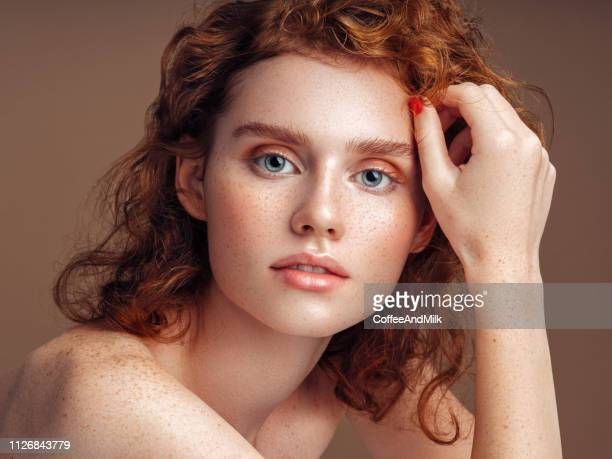 tender portrait of a beautiful girl - redhead stock pictures, royalty-free photos & images