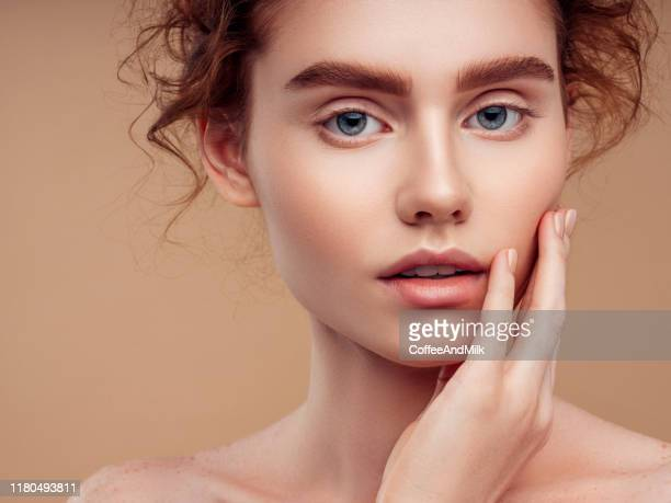 tender portrait of a beautiful girl - beauty stock pictures, royalty-free photos & images