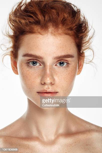 tender portrait of a girl - redhead stock pictures, royalty-free photos & images