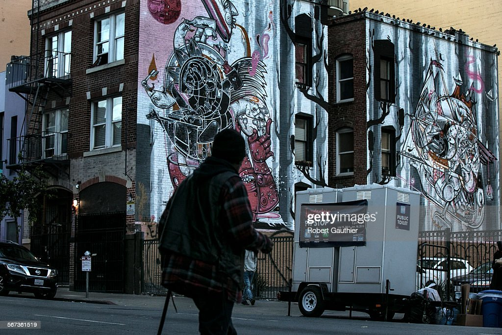 SAN FRANCISCO, CA, TUESDAY, JANUARY 20, 2015 -Tenderloin Pit Stop toilets sit at the coner of Turk a : News Photo