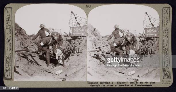 Tenderly Carrying A Blighty Case To An Aid Post Through The Maze Of Trenches
