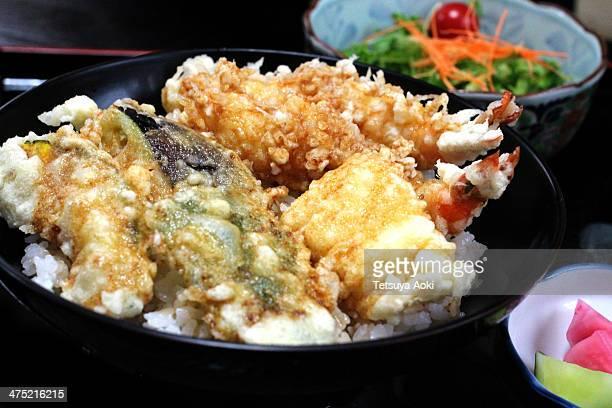 tendon (tempura rice bowl) - tendon stock photos and pictures