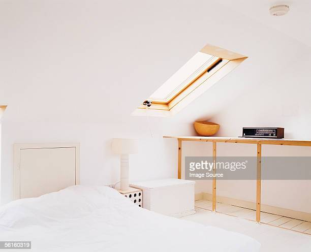 A tendy bedroom with a skylight