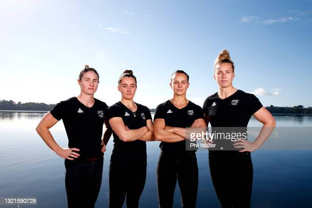 Teneale Hatton, Alicia Hoskin, Lisa Carrington and Caitlin Regal of the Women's Canoe Sprint Team pose after being named for the Tokyo Olympics...