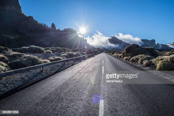 tenerife car road in el teide national park - atlantic islands stock pictures, royalty-free photos & images