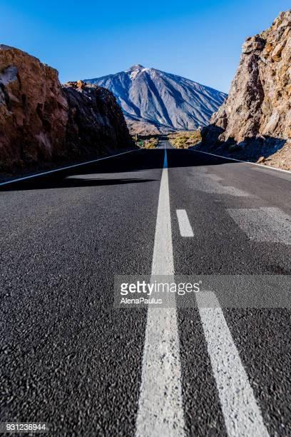 tenerife car road in el teide national park - el teide national park stock pictures, royalty-free photos & images