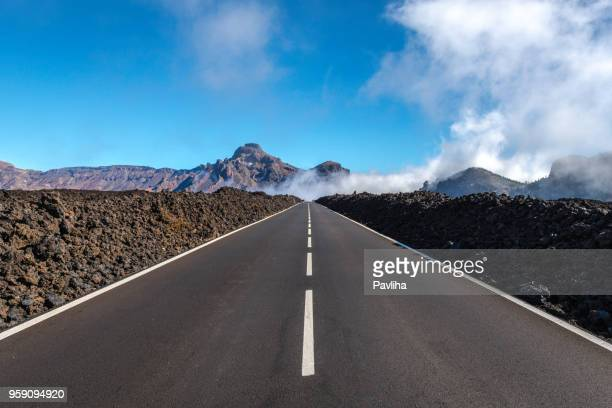 tenerife car road in el teide national park - straight stock pictures, royalty-free photos & images