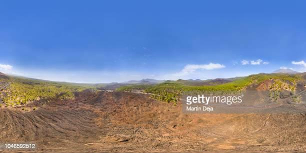 tenerife el teide volcano aerial 360° hdr panorama - hdri 360 ストックフォトと画像