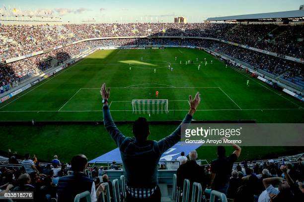 Tenerife fan protests during the La Liga second league at Estadio Heliodoro Rodriguez Lopez on February 4, 2017 in Santa Cruz de Tenerife, Spain.