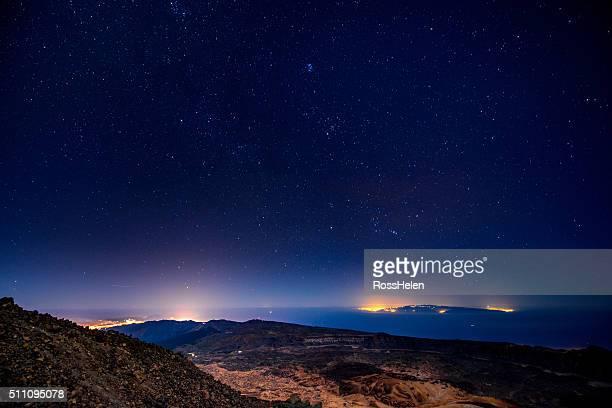 Tenerife island with starry sky