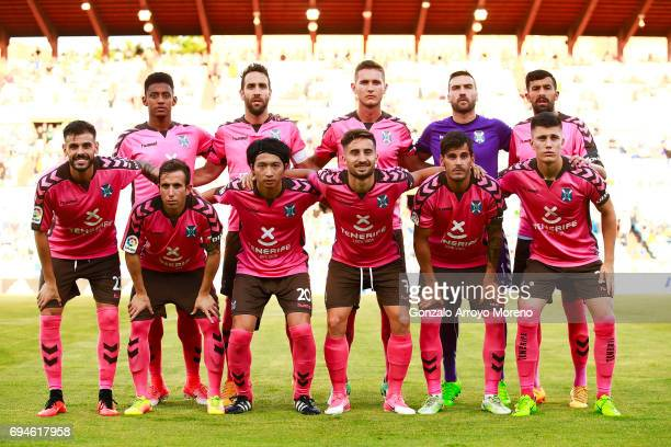 Tenerife line up with Gaku Shibasaki prior to start the La Liga 2 match between Real Zaragoza and CD Tenerife at La Romareda stadium on June 10 2017...