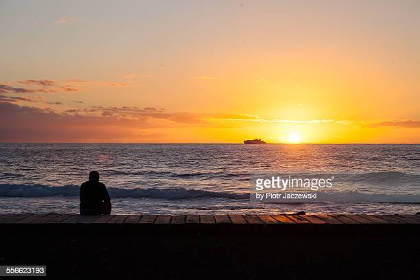tenerife sunset - canary islands stock photos and pictures
