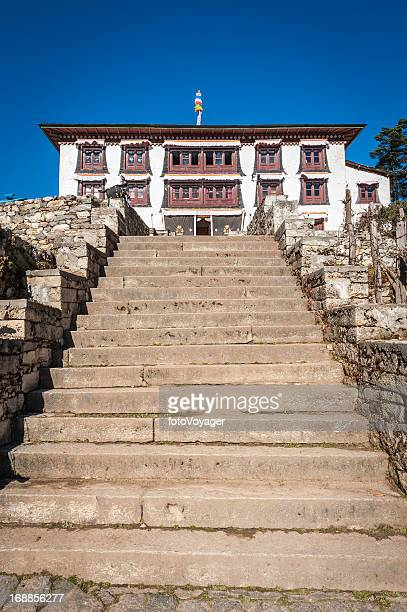 tengboche buddhist monastery remote himalaya gompa khumbu nepal - shrine stock pictures, royalty-free photos & images
