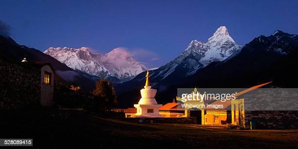 tengboche monastery by night, solukhumbu, nepal - solu khumbu stock pictures, royalty-free photos & images