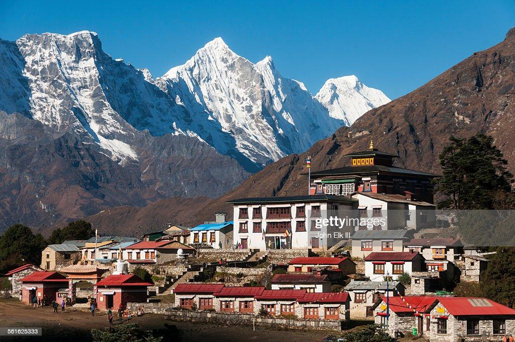 Tengboche Monastery with Kantega massif : Stock Photo