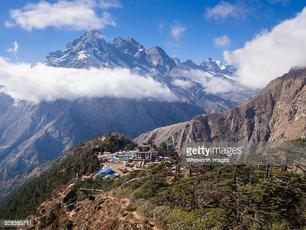 Tengboche village on ridge in Khumbu Valley