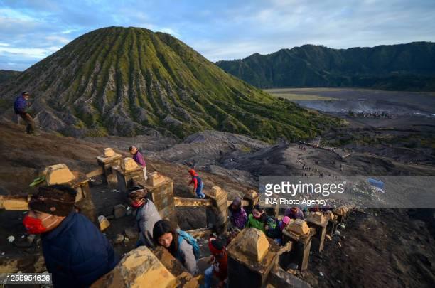 Tenggerese gather during the Yadnya Kasada Festival at crater of Mount Bromo amid the coronavirus outbreak in Probolinggo, East Java, Indonesia, on...