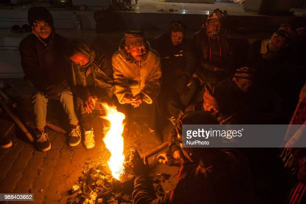 Tenggerese light a fire while waiting for the ceremony of Yadnya Kasada Festival at Mount Bromo Probolinggo East Java on 30th April 2018 The Yadnya...
